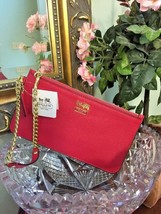 New Coach Madison Slim Leather Wristlet  Chain Link Bag  47930 Punch Pin... - $69.29