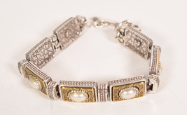 Brighton Silver & Goldtone Chunky Link Bracelet Toggle Faux Pearl - $44.55