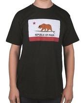 Team Phun República De California Oso Surf Camiseta Negra Camisa Manga Corta