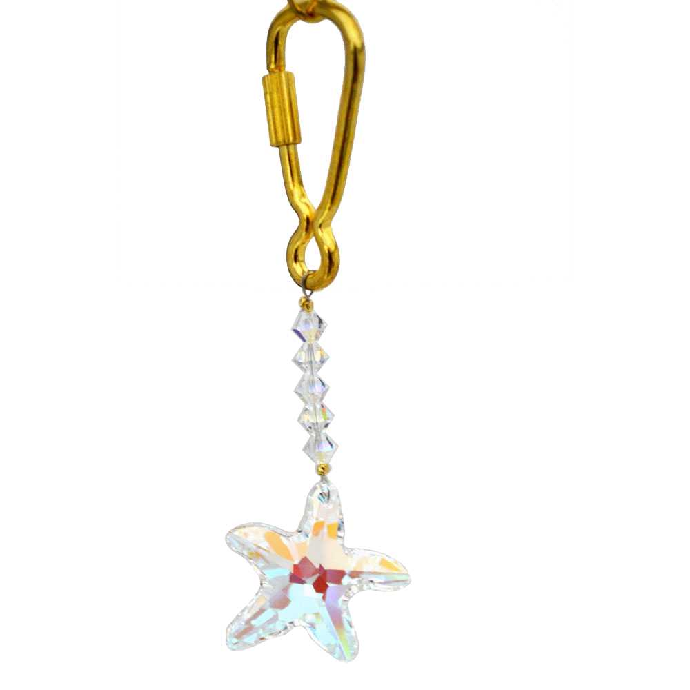 Crystal starfish keyring kr302a 01