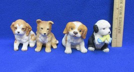 Puppy Dog Figurines Ceramic Homco Puppy Pals # 8917 8828  Lot of 4 - $12.86