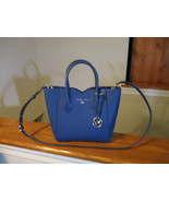 Authentic Michael Kors Mae Small Messenger Sapphire Blue Leather New W/tag - $118.79