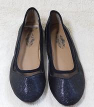 Charles Albert Black Glitter Mesh Leather Flats Size: 9M
