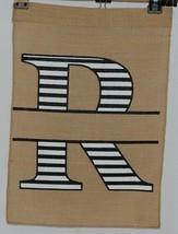 Kate Winston Brand Brown Burlap Monogram Black White R Garden Flag image 1