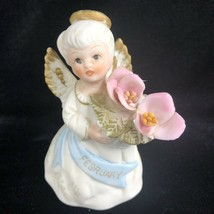 Vintage Lefton February Birthday Month Angel Figurine Girl Bisque Foil Label - $19.76