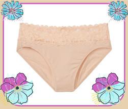 L XL Cameo Beige Stretch Cotton Victorias Secret High-Leg LACE Waist Bri... - $10.99