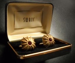 Swank Cuff Links Domed Shape Gold Colored Metal Red Sparkly Center Origi... - $17.99