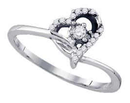 10k White Gold Round Diamond Heart Love Promise Engagement Bridal Ring 1... - $179.00