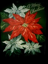 Vintage Christmas Card White Red Poinsettias - $3.00