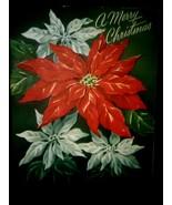 Vintage Christmas Card White Red Poinsettias - €2,66 EUR