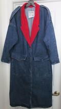 Pioneer Wear Jean Coat Jacket Long Duster Blue Red USA Women's Size 12.V... - $89.95