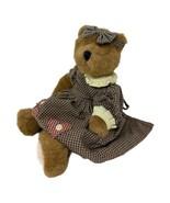 "Boyds Bears Plush Jointed Bear Check Dress Ruffle Collar 13"" Brown Stuffed Toy - $15.99"