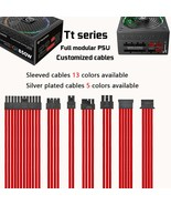 TT thermaltake full modular psu customized cables sleeved silver plated cable - $79.00