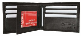 Cowhide Leather Mens Wallet with Center Flap and ID Window 1152 CF - $9.99