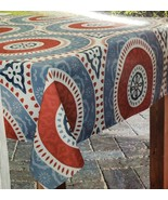 "1 Printed Fabric Tablecloth, 52 x 70"" Oblong, RED MEDALLION CIRCLES, LISBOA - $17.81"