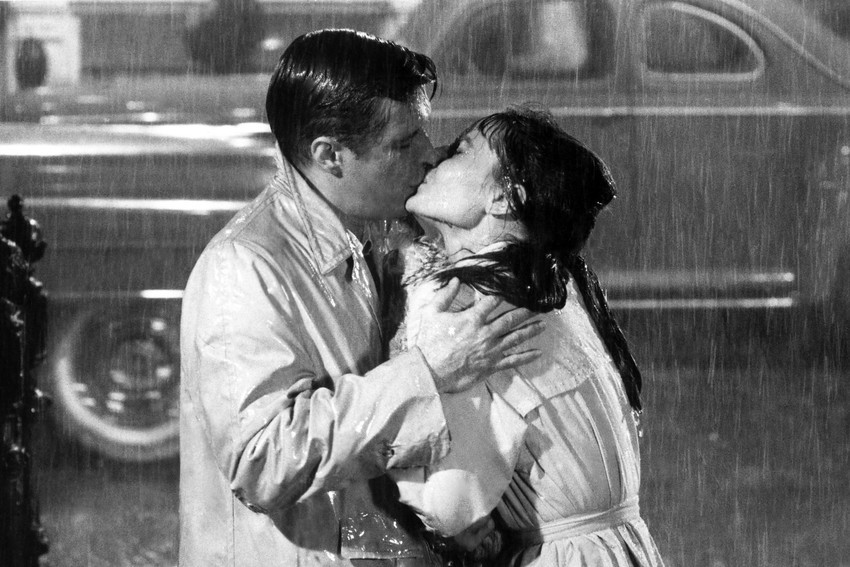 Primary image for Audrey Hepburn George Peppard Breakfast at Tiffany's Kiss In Rain Rare 18x24 Pos
