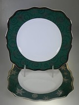 Wedgwood Sterling Holiday Green Square Salad Plates Set of 2 Made in Eng... - $39.55