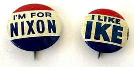 Eisenhower & Nixon Election Pins, 1950s, About the Size of a Nickel, Goo... - $400.97