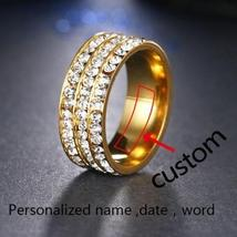 Personalized Engraved Stainless Steel 8mm Pave Set Luxury CZ Eternity Anniversar image 3