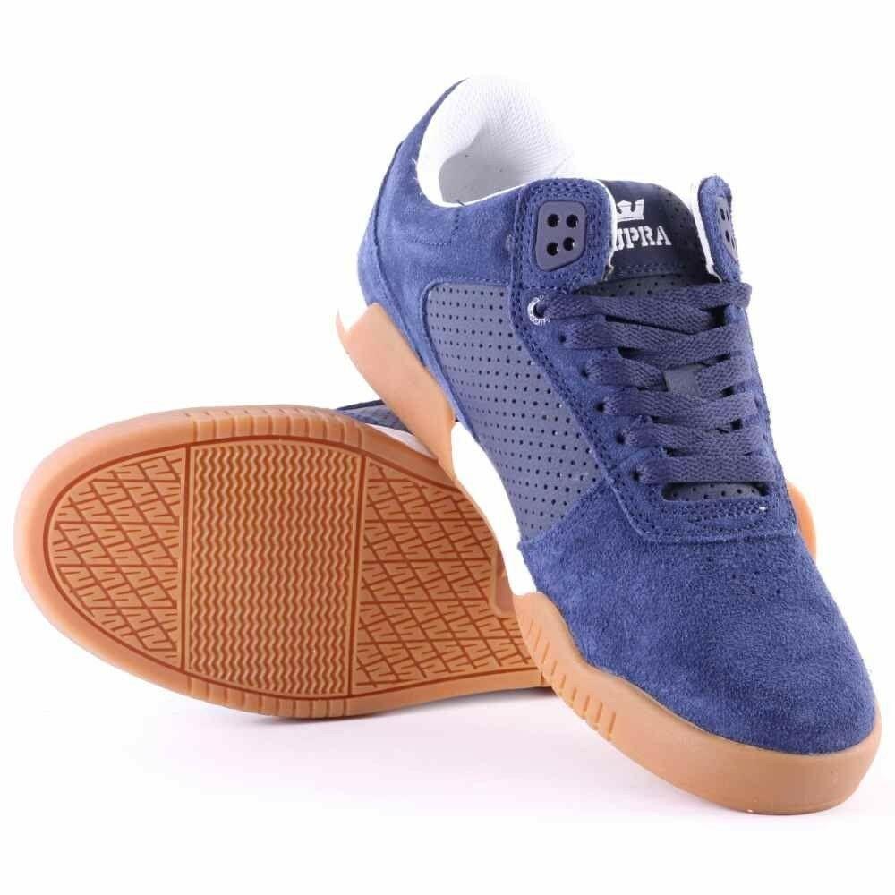 Supra Mens Navy Leather Suede Gum Ellington Lo Top Skateboard Shoes Sneakers NIB