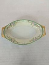 Meito China Japan oblong double handle Bowl 8 3/8 Inches Long Hand Painted - $13.89