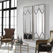 Horchow Pair TWO Oversized Wall Mirrors French Modern Contemporary Silver Leaf - $1,198.00