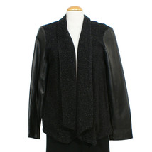 EILEEN FISHER Black Plush Cotton Speckle Leather Sleeve Angle Front Jack... - $299.99