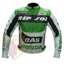 HONDA GAS REPSOL GREEN MOTORBIKE MOTORCYCLE ARMOURED COWHIDE LEATHER JACKET - $194.99