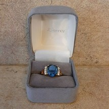 Blue Topaz-Colored & Clear Stone Yellow 14k GE Taiwan Size 4-5 Costume Ring - €7,96 EUR