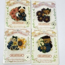 Lot Of 4 Boyds Bears Bearwear FLoral Collection PIN Pins  - $15.19