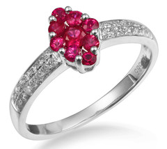 Red Gemstone Solid 14K White Gold Real Ruby Diamond Fashion Ring July Bi... - $1,083.06