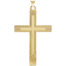 14Kt Solid Yellow Gold Cross Pendant with Design, 42mm x 26mm - $427.49