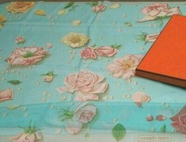 Hermes Carre 90 Scarf Stole Rose Floral Flower Light Blue Chiffon Silk N... - $317.59