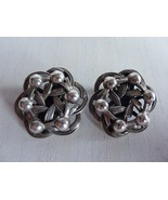 Vintage Danecraft Oxidized Sterling Silver Dotted Knot Flower Clip On Ea... - $63.65