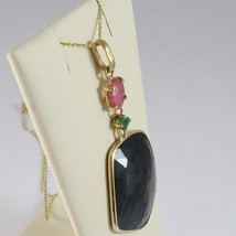 9K YELLOW GOLD NECKLACE AND PENDANT, ROUND BLUE AND OVAL PINK SAPPHIRE, PERIDOT image 2
