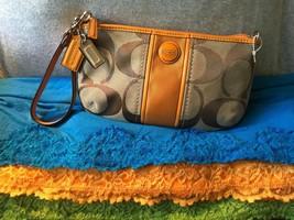 Handbag Coach Khaki & Light Orange Canvas SIG Leather Trim CreditCardZip... - $95.97