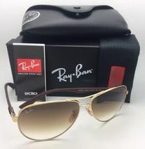 RAY-BAN Sunglasses TECH SERIES RB 8313 001/51 Gold-Carbon Fiber Aviator w/ Brown - $259.95