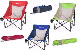 Folding Camp Sports Chair Outdoor Portable Beach Seat Cup Holder Steel F... - $26.87