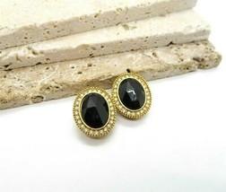 Vintage 1928 Black White Glass Rhinestone Gold Tone Oval Clip On Earring... - $16.99