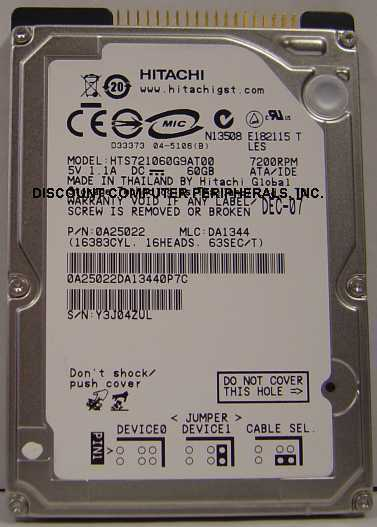 "HTS721080G9AT00 Hitachi 80GB IDE 2.5"" drive Tested Free USA Ship Our Drives Work"