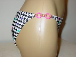 Xhilaration black white checked pink ring sides bikini bottoms swimsuit-S-NEW image 2