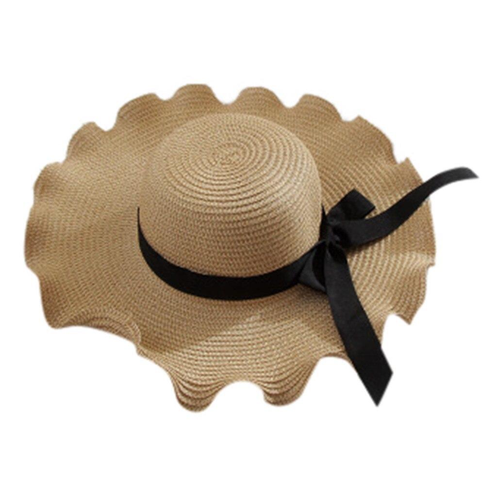 2019 New Women Summer Bowknot Straw Hat Stripe Floppy Foldable Roll up Beach Cap image 2