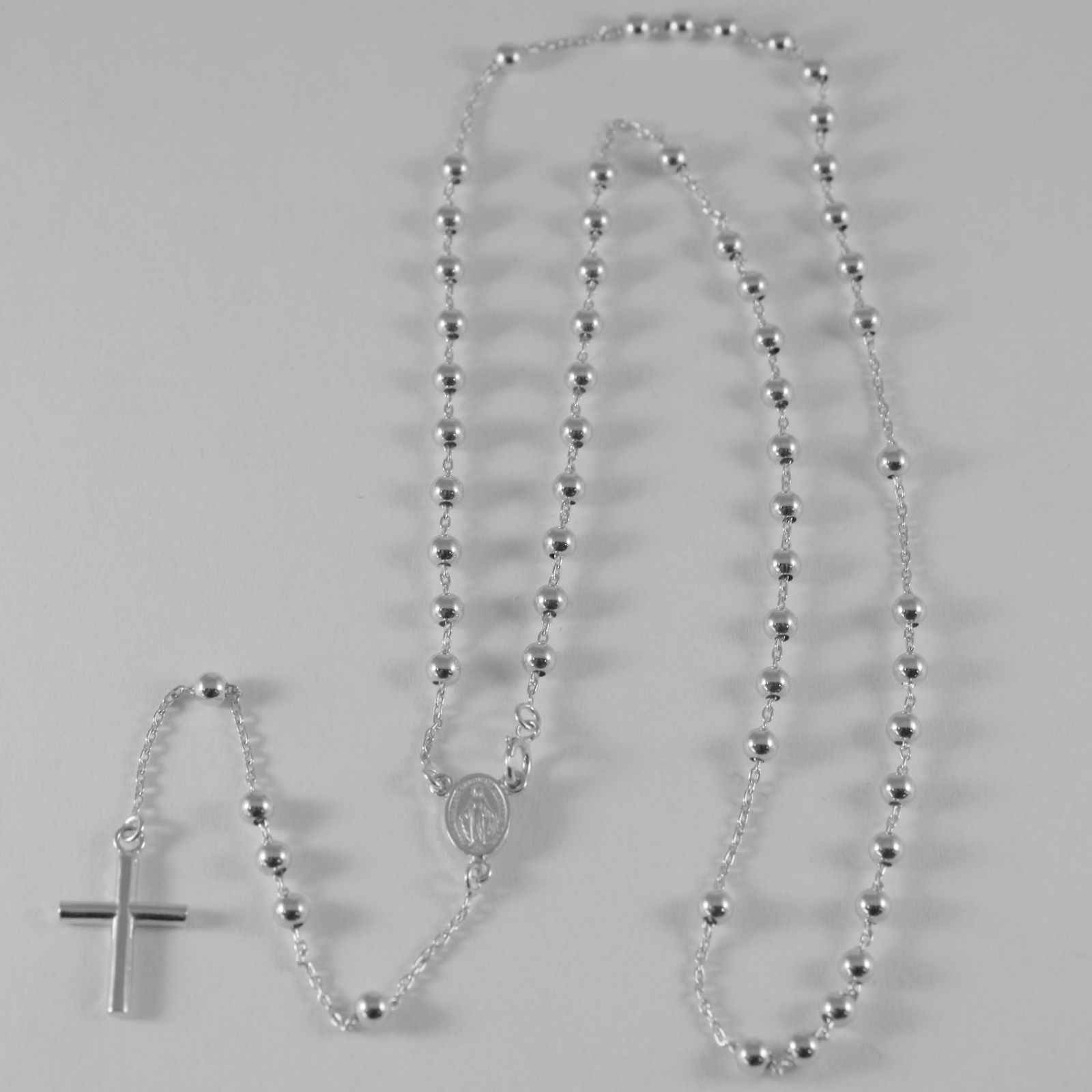 18K WHITE GOLD ROSARY NECKLACE MIRACULOUS MARY MEDAL & CROSS PENDANT ITALY MADE