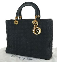 Authentic CHRISTIAN DIOR Black Quilted Nylon Lady Dior Hand Bag Purse #33632 - $349.00