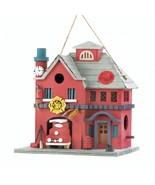 *18082B  Fire Station Red Eucalyptus Wood Birdhouse - $17.35