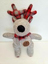 P & Co Knitted Reindeer Deer Plush Stuffed Animal Grey Red Plaid Antlers - $34.63