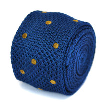 Skinny navy blue and brown polka spot knitted tie by Frederick Thomas FT1853