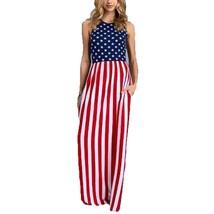 Women's Summer Sleeveless Round Neck USA Flag Print Casual Sundress - Si... - £20.01 GBP