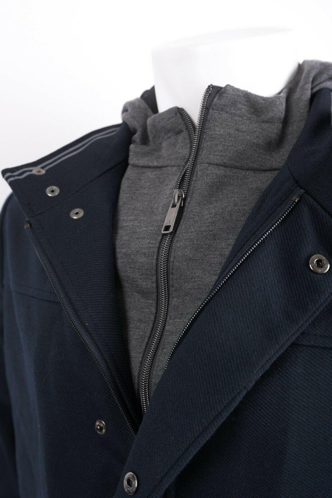 Zara Man Mens Jacket Coat Blazer Removeable Interior Navy Blue Gray Hooded NWT image 4