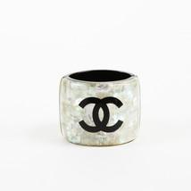 Chanel Cream Black Resin 'CC' Bangle Bracelet - $1,080.00